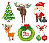 A set of christmas element illustration