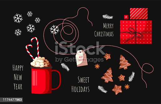 Set of Christmas elements on the black background. Mug of cacao with marshmallows and candy canes, Christmas cookies, gift boxes and snowflakes. Vector illustration for card, poster, scrapbooking.