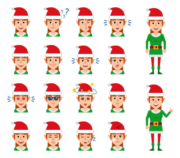 set of christmas elf girl avatars showing different facial expressions. - kiss stock illustrations
