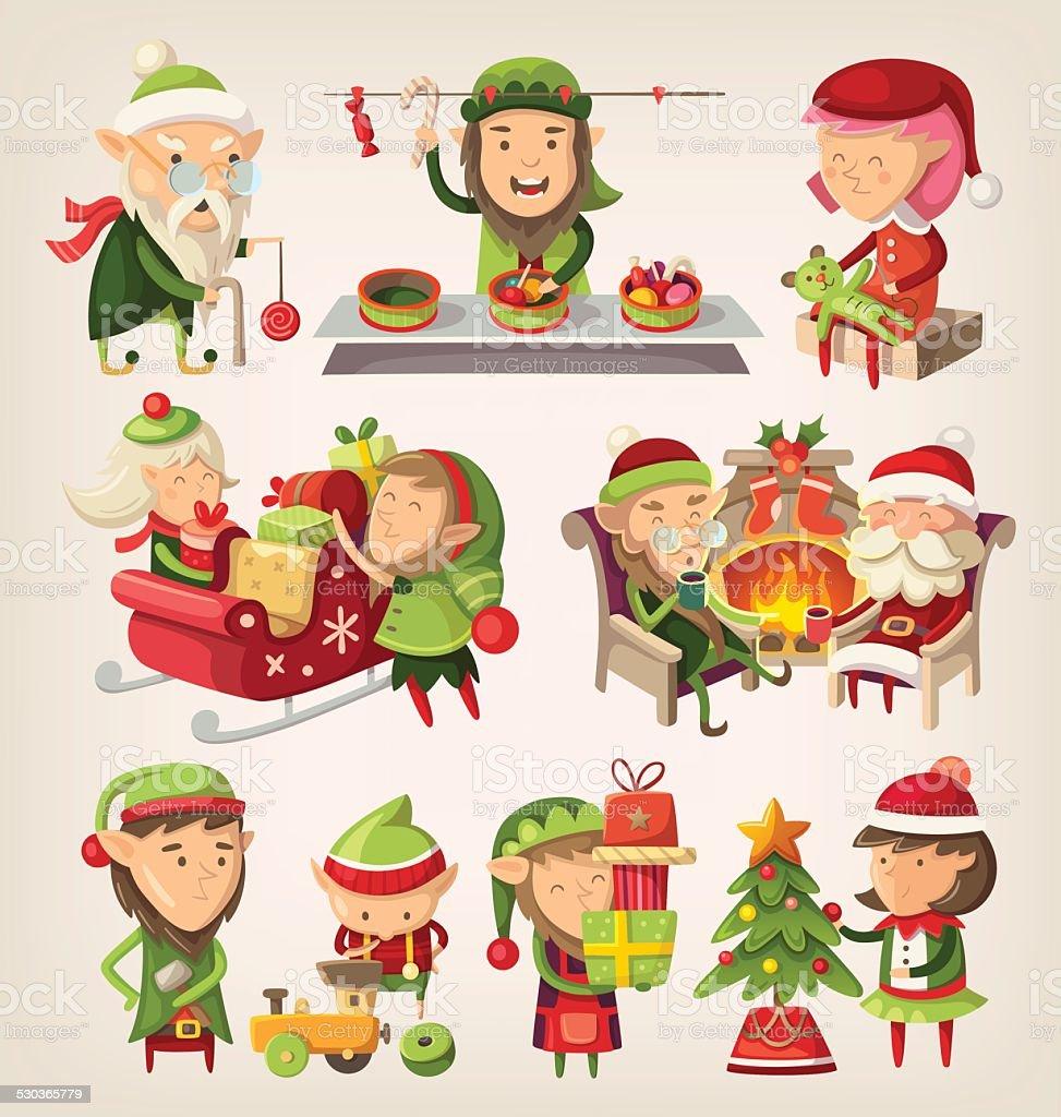 Ensemble de Noël d'elves - Illustration vectorielle