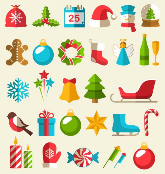 satz von weihnachts-flache icons isoliert auf beige - ferien  und feiertagssymbole stock-grafiken, -clipart, -cartoons und -symbole