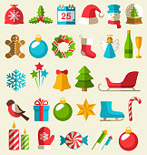 Set of Christmas Flat Icons Isolated on Beige