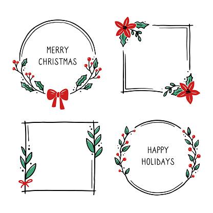 Set of christmas floral frame illustration