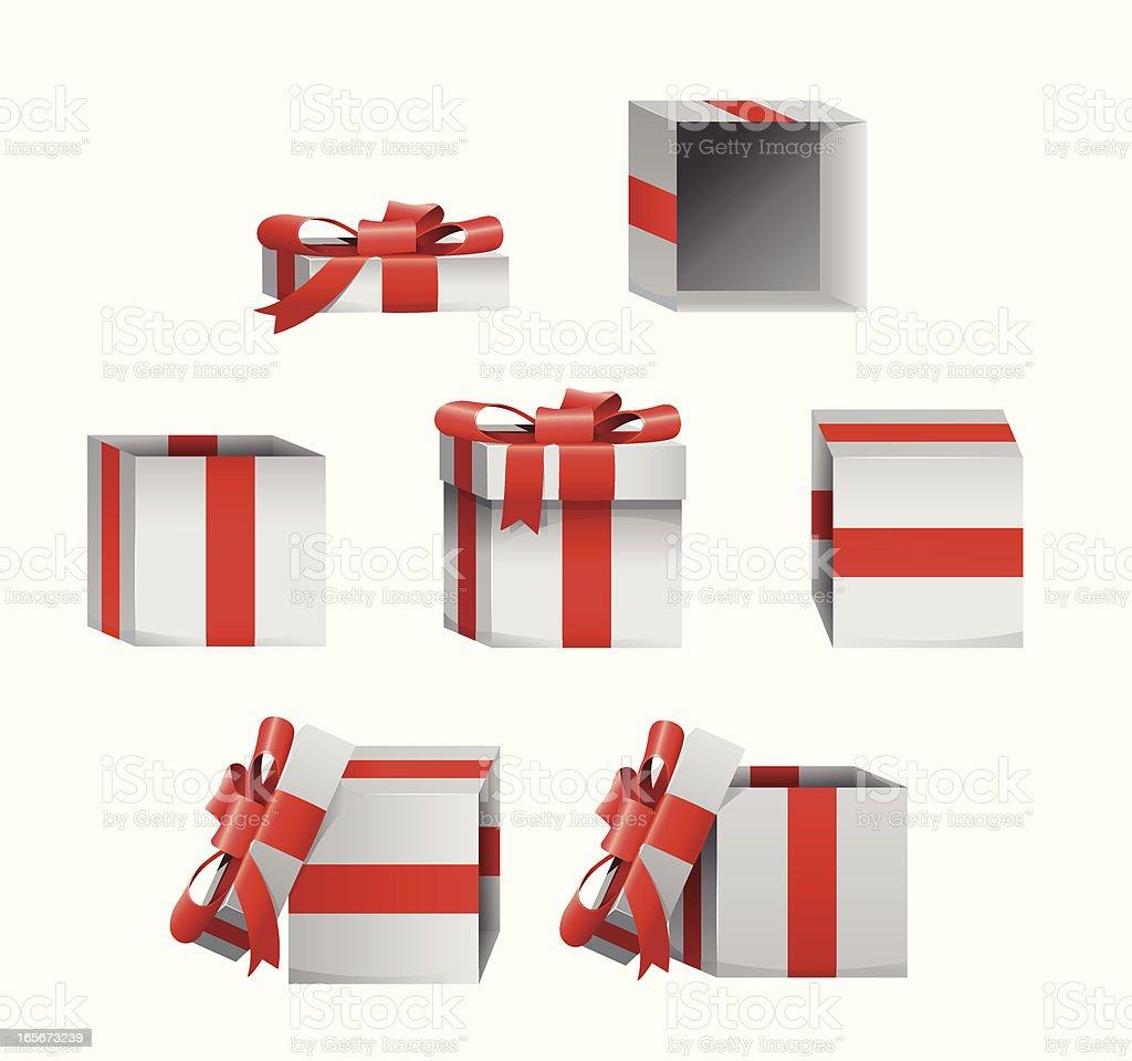 Set Of Christmas Gift Box Present Icons vector art illustration