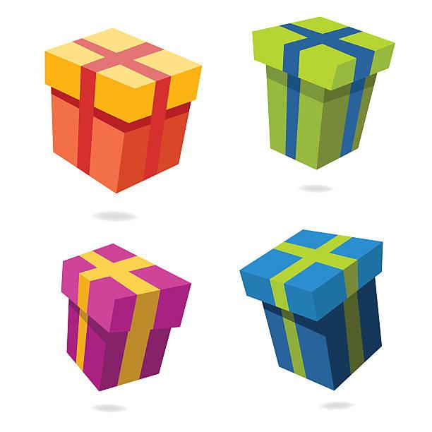 Set of Christmas gift boxes vector art illustration