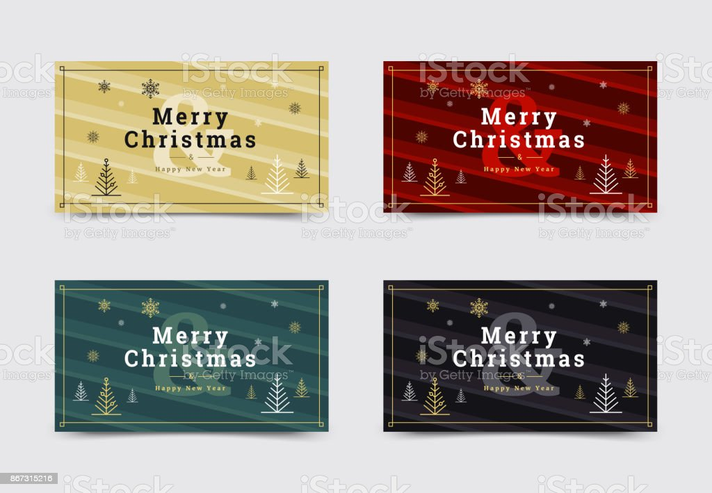 Set Of Christmas Gift Card Templates Minimal Covers Design With ...