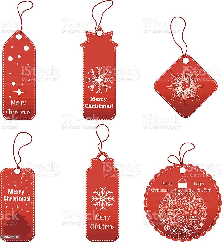 Set of Christmas gift labels on white background vector art illustration