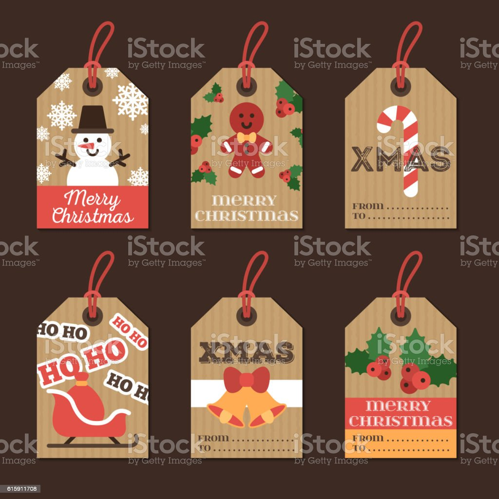 Set of Christmas Gift Tags on Cardboard Paper vector art illustration