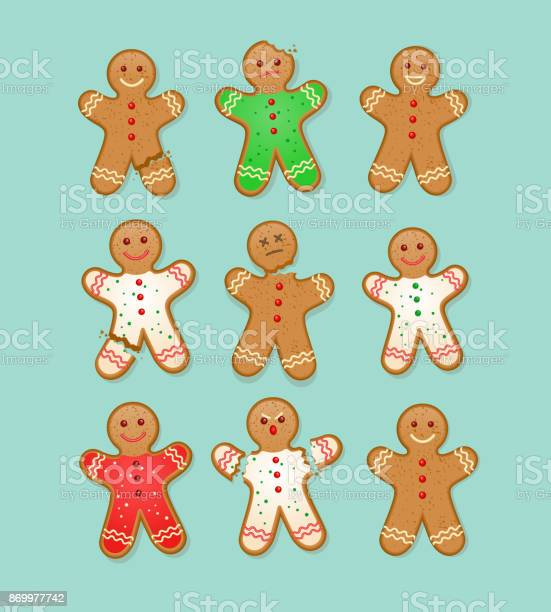 Set Of Christmas Gingerbread Man Cookies With Different Injuries And Expressions Stock Illustration - Download Image Now