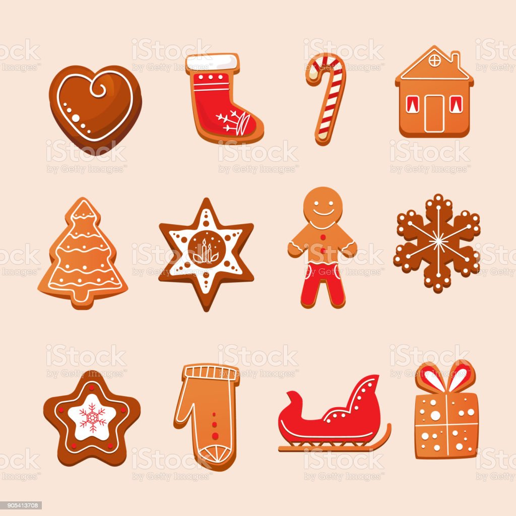 Set of Christmas gingerbread with glaze. New Year, sweet pastries vector art illustration