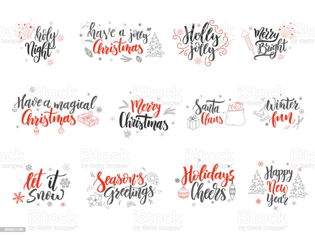 Satz Von Weihnachtskarten Designelemente Wie Von Hand Gezeichnet ...