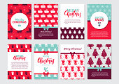Vector Set of Christmas greeting cards, brochures in vintage style. Winter seasons and Christmas symbols with ribbons and text. Xmas design.