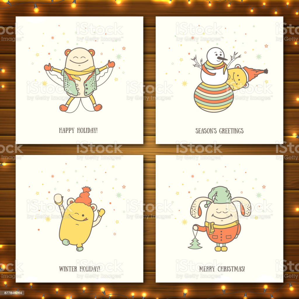 Set of christmas greeting cards with funny characters collection of set of christmas greeting cards with funny characters collection of postcards with personages on wooden m4hsunfo