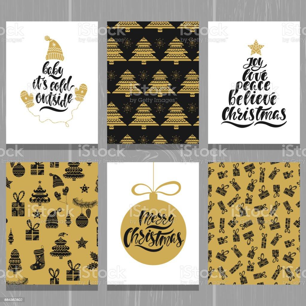 Set Of Christmas Greeting Cards Xmas Postcards With Seamless