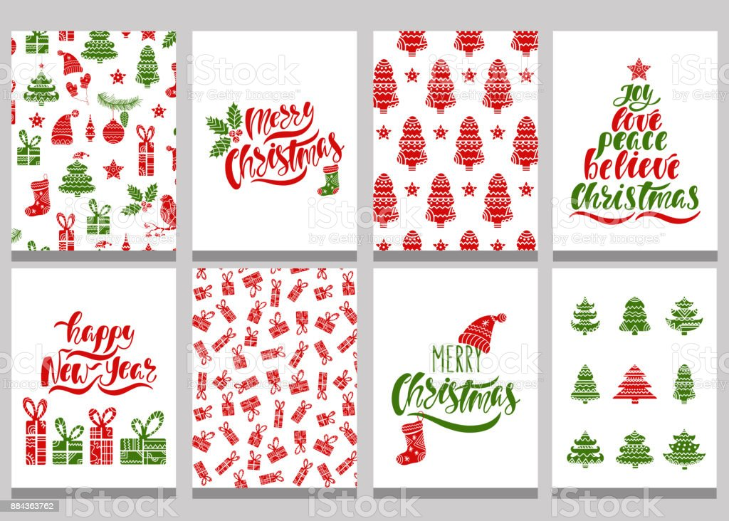 set of christmas greeting cards xmas postcards with seamless patterns and typography design red