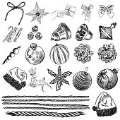Set of  Christmas hand drawn icons. Xmas engraved objects isolated over white background.  New Year objects, symbols, elements for DIY designs. Vector.