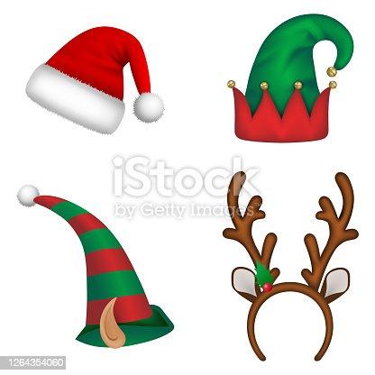 istock Set of christmas hats. Santa claus hat, elf hats and reindeer horns headband 1264354060