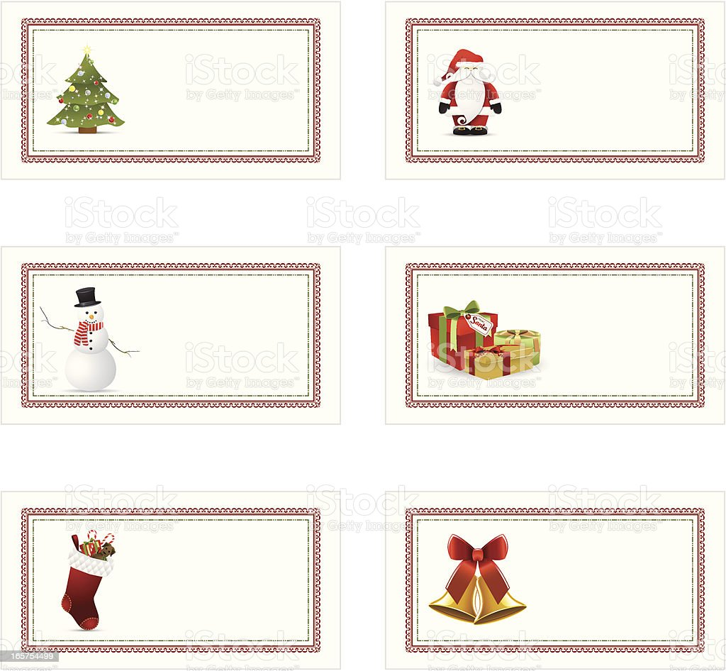 A set of Christmas holiday gift tags aligned in a row royalty-free stock vector art