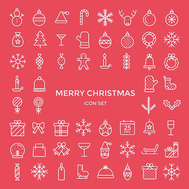 Set of christmas holiday icons - vector illustration Christmas holiday icons thin line flat style design christmas icons stock illustrations