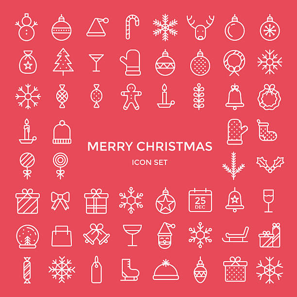 ilustraciones, imágenes clip art, dibujos animados e iconos de stock de set of christmas holiday icons - vector illustration - calendario de animales