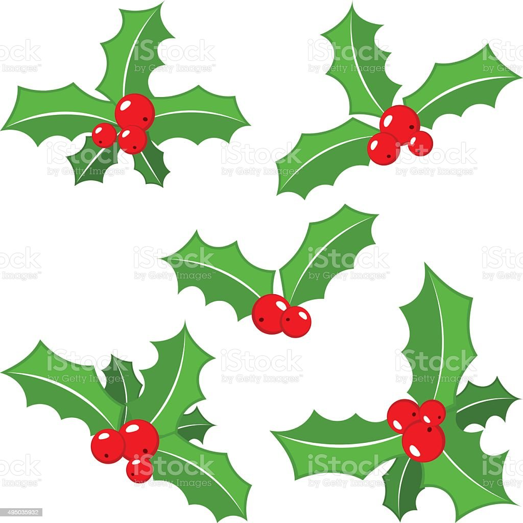 set of christmas holly leaves vector art illustration