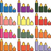 Set of Christmas icons candles in a simplified style vector