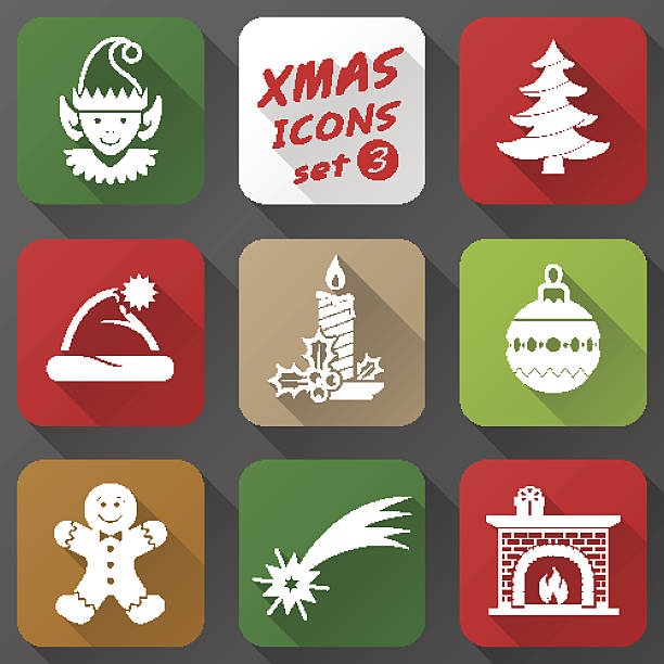 satz von weihnachts-icons in flachen stil - kaminhaube stock-grafiken, -clipart, -cartoons und -symbole
