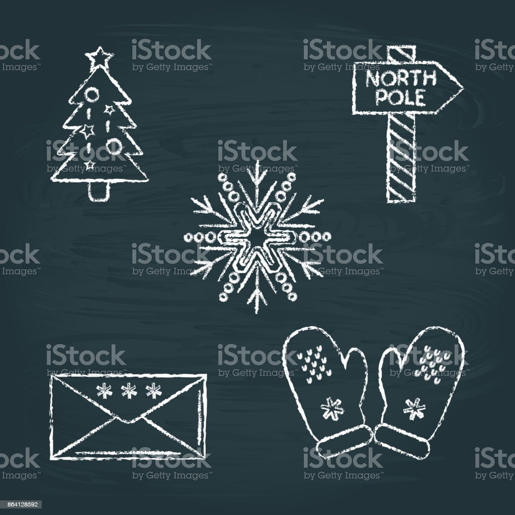 Set of Christmas icons sketches on chalkboard royalty-free set of christmas icons sketches on chalkboard stock vector art & more images of black color
