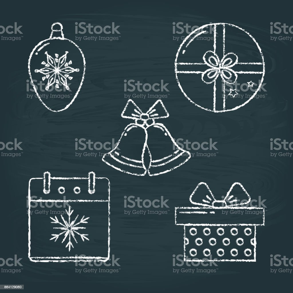 Set of Christmas icons sketches on chalkboard royalty-free set of christmas icons sketches on chalkboard stock vector art & more images of ball