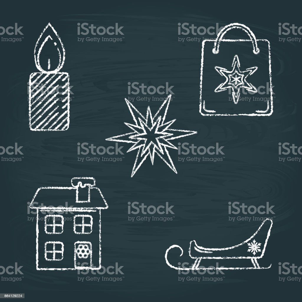 Set of Christmas icons sketches on chalkboard royalty-free set of christmas icons sketches on chalkboard stock vector art & more images of bag