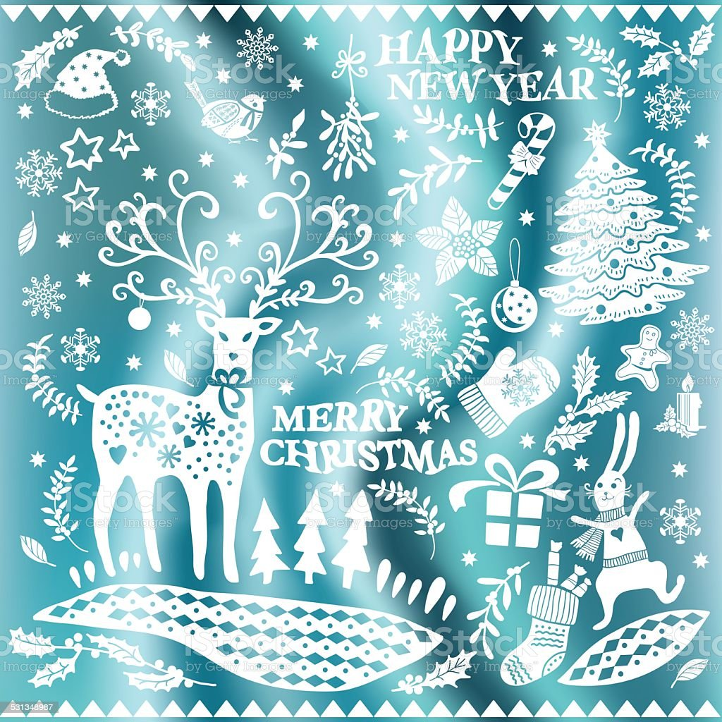 Weihnachtsbilder Als Hintergrund.Satz Von Weihnachtsbilder Auf Einer Seide Hintergrund Stock Vektor