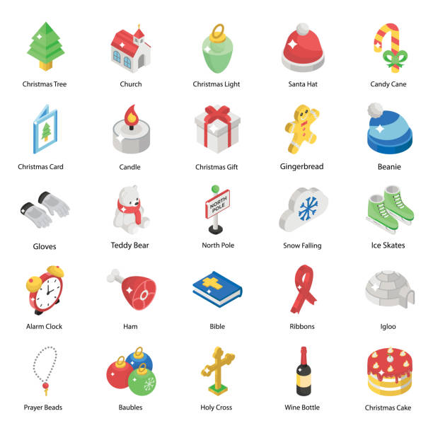 Set Of Christmas Isometric Icons Let's celebrate this holiday season with this christmas icon set. You'll love using these christmas icons for designing greeting cards and website banners related to christmas. christmas teddy bear stock illustrations