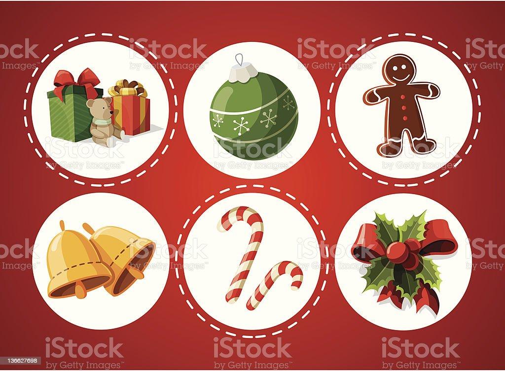 Set of Christmas items vector art illustration