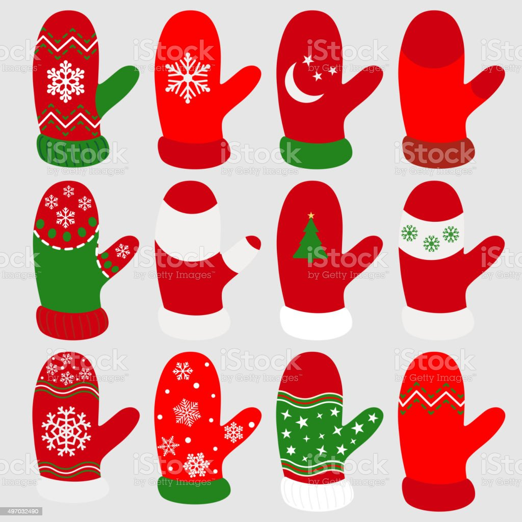 set of christmas mittens royalty free stock vector art - Christmas Mittens
