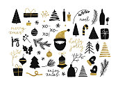 Set of christmas new year winter black icons with gold texture xmas tree, gifts, balls, snowflake, leaves, branch, berries, santa isolated on white. Vector illustration doodle hand drawn flat style