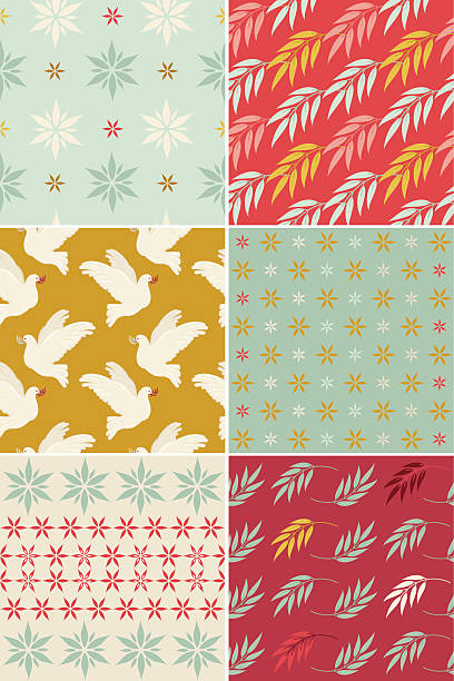set of christmas patterns - vectors stock pictures, royalty-free photos & images