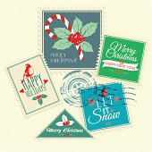 Vector Set of Christmas postal stamps