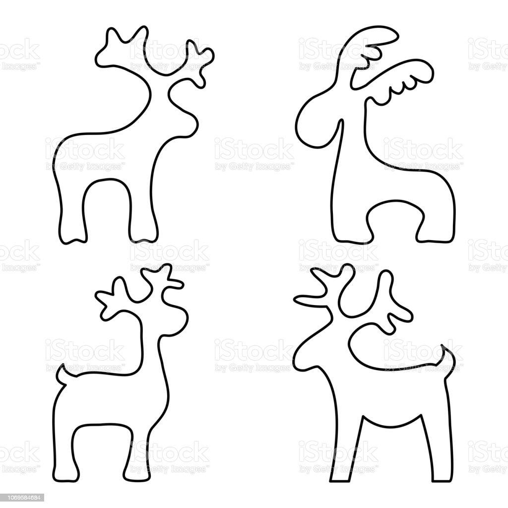 Ilustración De Juego De Renos De Navidad Diseño Del Esquema Página