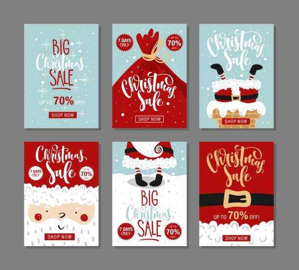 satz von christmas sale banner. - firmenweihnachtsfeier stock-grafiken, -clipart, -cartoons und -symbole