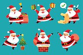 set of Christmas Santa Claus in difference pose