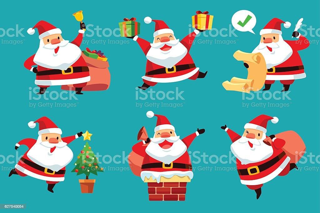 set of Christmas Santa Claus vector art illustration