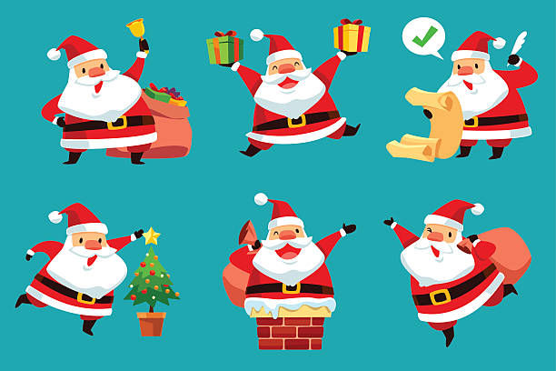 set of christmas santa claus - kaminverkleidungen stock-grafiken, -clipart, -cartoons und -symbole