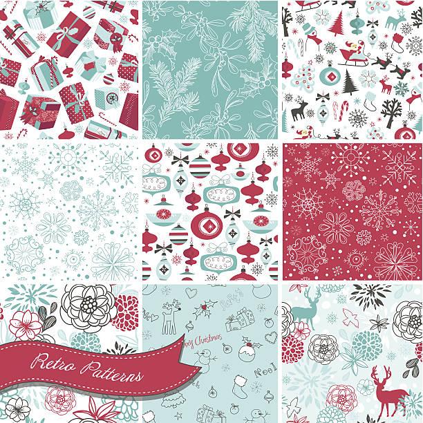 Set of Christmas seamless backgrounds vector art illustration
