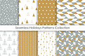 Set of Christmas seamless patterns. Collection of simple geometric backgrounds with golden, white and gray colors. Vector illustration.