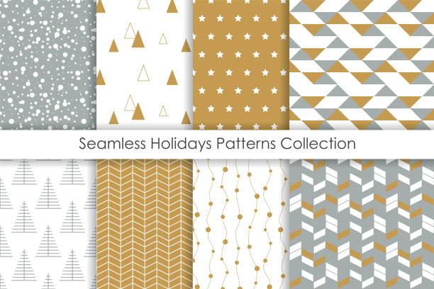 Set of Christmas seamless patterns. Collection of simple geometric backgrounds with golden, white and gray colors. Vector illustration. Set of Christmas seamless patterns. Collection of simple geometric backgrounds with golden, white and gray colors. Vector illustration. christmas designs stock illustrations