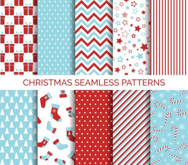 illustrazioni stock, clip art, cartoni animati e icone di tendenza di set of christmas seamless vector patterns - sfondo vacanze e stagionali