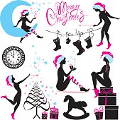 Set of Christmas silhouette fairy girls, isolated on white background.