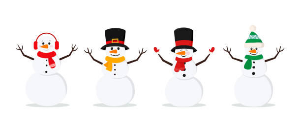 Set of christmas snowmans isolated on white background. Cheerful snowmen in different costumes and scarf and hat. Set of christmas snowmans isolated on white background. Cheerful snowmen in different costumes and scarf and hat. Vector illustration for holiday xmas and new year. snowman stock illustrations