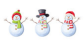 Vector set of three Christmas snowmen isolated on a white background.