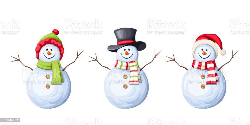 Ensemble de bonhommes de neige de Noël. Illustration vectorielle. - Illustration vectorielle